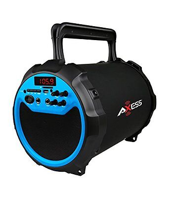 Axess Portable Bluetooth 2.1 Hi-Fi Loud Speaker with Wired Mic SPBT1034-BL