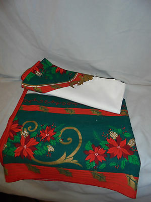 "Christmas Table Cover Poinsettia, Pine Cones, 54""x54"" Green, Red, Gold"