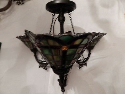 "Quoizel Leaded Stained Glass Pendant Lamp Light Fixture Chandelier 21""h"