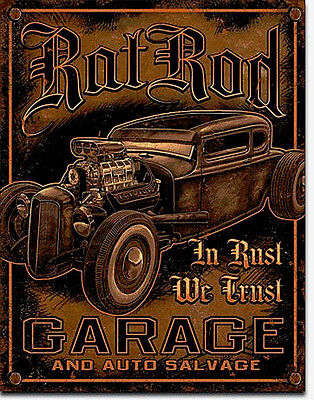 Custom Hot Rod garage RAT CAR SERVIZIO OLD SCHOOL Pubblicità Targa decorativa