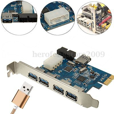 5 Port Super Speed USB 3.0 2.0 PCI-E PCIE Express Expansion Card Adapter HUB 20P