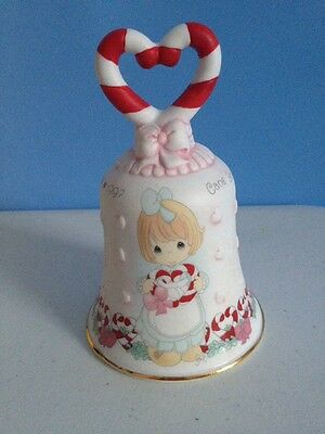 Precious Moments 1997 Christmas Bell Candy Cane Heart Gold Trim