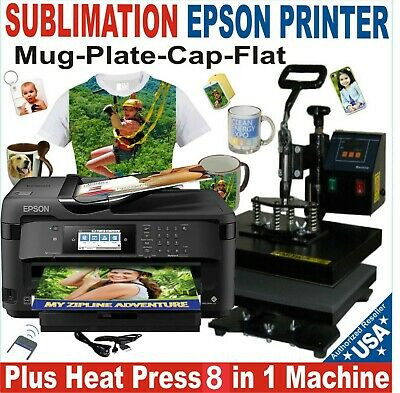 5 In 1 Heat Press 12X15 Machine Combo Pack Plus Sublimation Ink Printer Epson