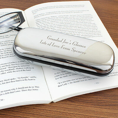 Personalised Glasses Case Hard Box Chrome Engraved Birthday Gift Grandad