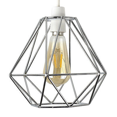 Industrial Polished Chrome Wire Diamond Design Ceiling Light Shade Lighting