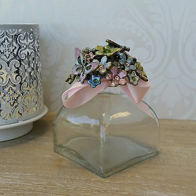 Glass Perfume Bottle With Decorative Flowers Butterfly Shabby Chic Vintage Style
