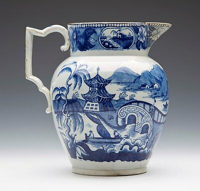 Antique English Pearlware Blue & White Chinoiserie Handled Jug Late 18Th C.
