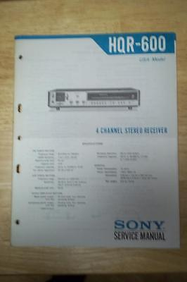 Sony Service Manual for the HQR-600 Receiver ~ Original