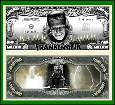 50 Factory Fresh Frankenstein Novelty Million Dollar Bills