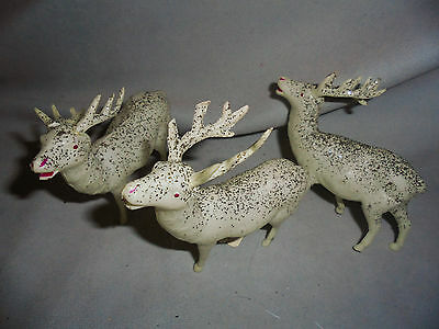 """Reindeer Celluloid, Silver Glitter 3 Are 3.75"""" Long & Tall Made In JapanVintage"""