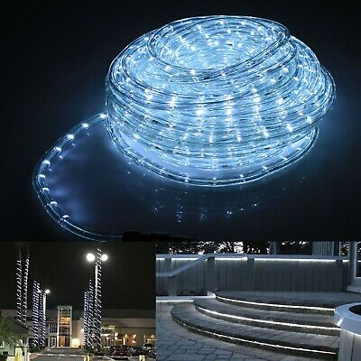 Flexible 50FT Deco LED Rope Light Home Christmas Decorative Lighting Cool White