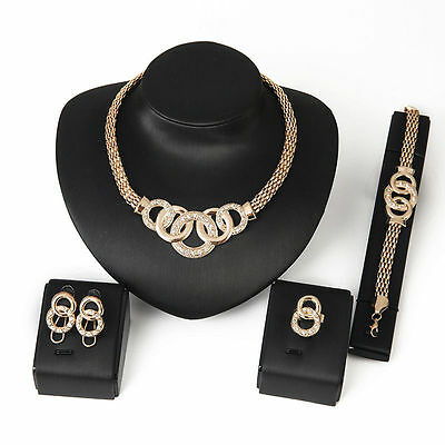 cheap and fine 18K Gold Plated Necklace Earring Bracelet Ring Jewelry Set zircon