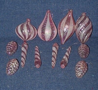 12 Pink Plastic and Glitter Christmas Tree Ornaments: Cones, Icicles, Teardrops