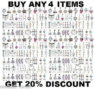 Belly Bar Crystal Dangly Reverse Drop Body Piercing Belly Button Ring Navel Bars