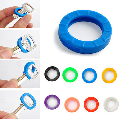 8x Multi-Color Hollow Rubber Soft Key Locks Keys Cap Covers Topper Keyring