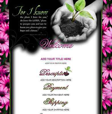 FOR I KNOW eBay Listing Auction Template Floral HAPPY Faith Love Grace