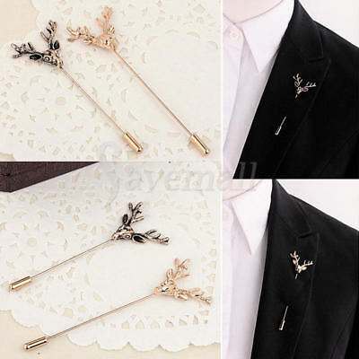 Antique Gold Hunting Buck Deer Head Stag Lapel Stick Pin Tie Hat Brooch Badge