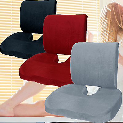 Bookishbunny Memory Foam Coccyx Orthoped Seat Pad + Back Lumbar Support Cushion