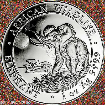 2016 SOMALIA African Wildlife ELEPHANT 1oz .9999 Silver BU Coin IN FREE AIRTITE