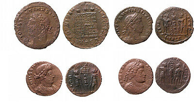 *Lucernae* Late four Roman coins lot Constans and Constantine II (3).