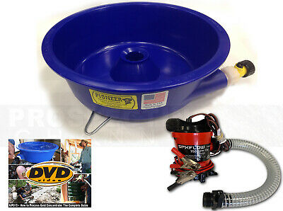 BLUE BOWL PAN GOLD Prospecting CONCENTRATOR + How 2 DVD + PUMP + LEVELER KIT