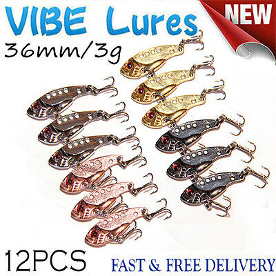 12X Fishing Switchblade Blade VIBE VIB Metal Lures 36mm 3g Bream Bass Flathead