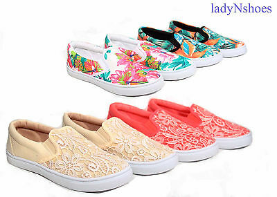 NEW Women's Causal Lace Flower Round Toe Flat Slip On Sneaker Shoes Size 5 - 10