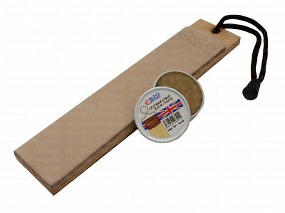 LEATHER STROP STREICHRIEMEN SHARPENING POCKET KNIFE CUT THROAT RAZOR 10ml PASTE