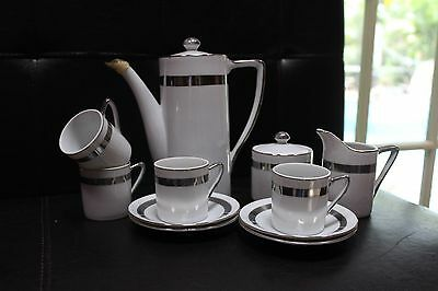 Tea for 4 Royal Crown Contemporary Platinum Trimmed Coffee/Tea Set 11 pc.