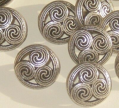 CELTIC Design Set 12 Vintage New Antiqued SILVER Metal fancy buttons 16mm 5/8""