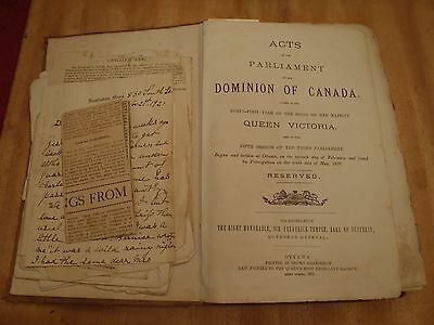 antique Victoria scrapbook 1879 -1920's clippings, Acts of Parliament book
