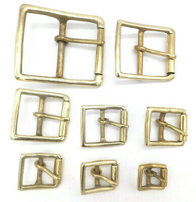 """CENTRE BAR [ 1/2"""" to 2"""" ] SOLID BRASS MILITARY FULL ROLLER BUCKLE VARIOUS PACKS"""