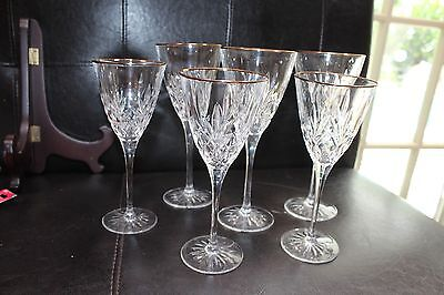 """CRISTAL D'ARQUES """"William"""" LEAD CRYSTAL  GOLD RIMMED 3 RED 3 WHITE WINE GLASSES"""