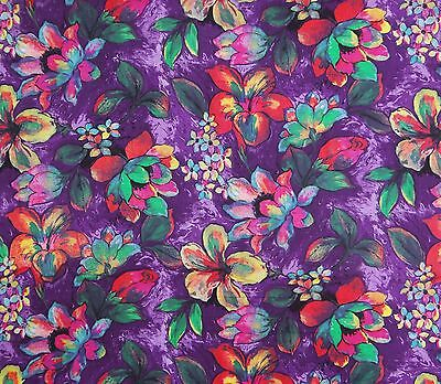 "Purple Dressmaking Cotton Floral Printed Fabric 42"" Wide Sewing By The Yard"