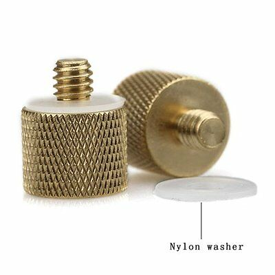 """3/8""""-16 Female to 1/4""""-20 Male Tripod Thread Reducer / Adapter Brass NEW (2-pack"""