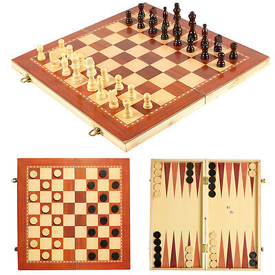 39x39cm 3 in 1 Folding MDF Chess Set Board Game Checkers Backgammon Draughts