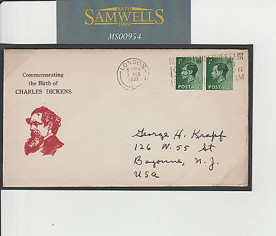 MS954 1937 GB CHARLES DICKENS Commemorative Cover KEVIII Franking to USA Mail