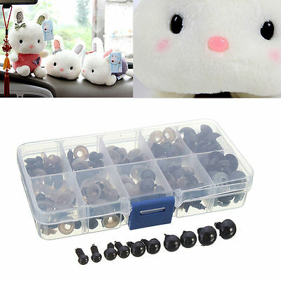 100pcs 6-12mm Black Plastic Safety Eyes For Teddy Bear Doll Animal DIY + Case UK