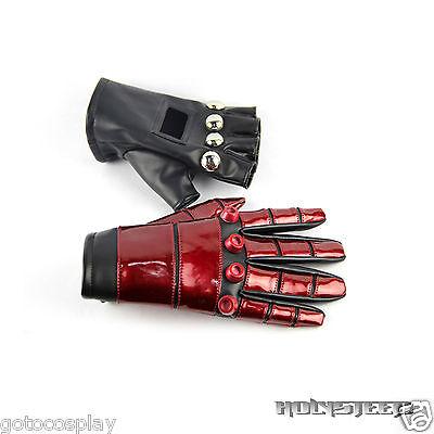 "King of Fighters KOF 99 ""K"" Black Red Leather Gloves Cosplay Props"