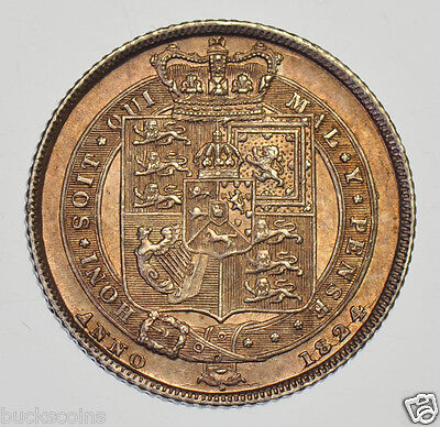 1824 Sixpence British Silver Coin From George Iiii Au