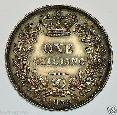1839 Plain Edge Proof Shilling, No W.w. En Medaille, Silver Coin From Victoria