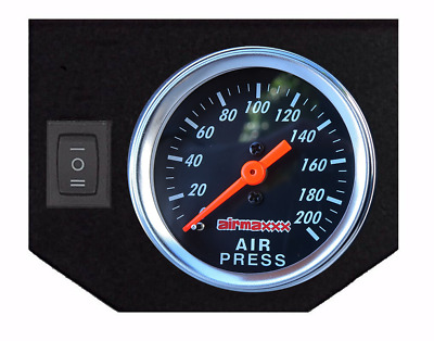 Air Ride Suspension Single Needle Air Gauge Panel 200psi 1 Rocker Switch Control