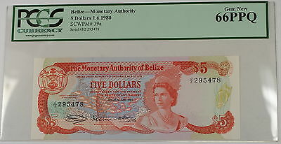 1.6.1980 Belize Monetary Authority $5 Dollar Note SCWPM# 39a PCGS 66 PPQ Gem New