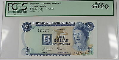 1978-84 Bermuda Monetary Authority $1 Dollar Note SCWPM# 28b PCGS 65 PPQ Gem New