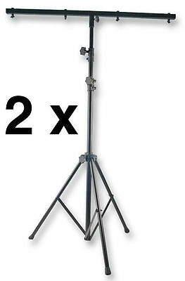 2 x Lighting Stand 2.5m Light Tripod inc T Bar Metal Black Disco DJ