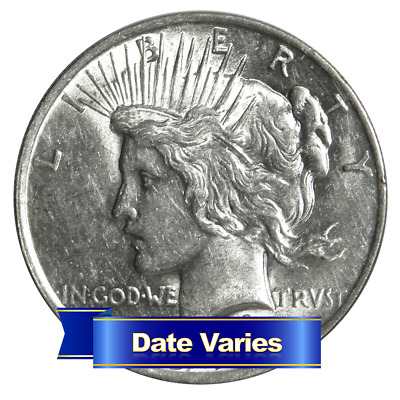 1922 to 1935 $1 Silver Peace Dollar About Uncirculated AU