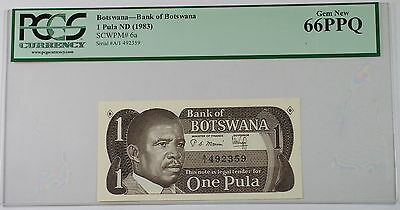 (1983) Bank of Botswana 1 Pula Note SCWPM# 6a PCGS 66 PPQ Gem New