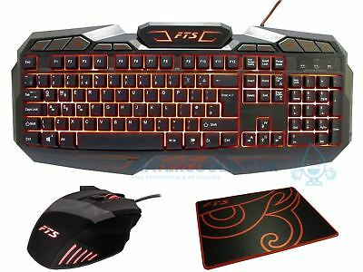 Game Max Gamer LED USB Gaming Red/Blue/Purple Backlit Keyboard and Mouse