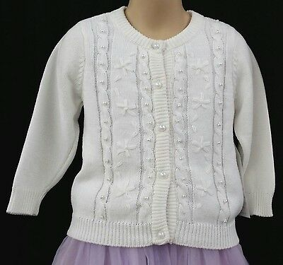 NEW Girls White Pearl Ribbed Long Sleeve WEDDING PARTY PAGEANT Cardigan Sweater