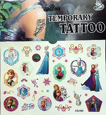 Kids Temporary Tattoos Stickers Frozen Body Art Removable Waterproof Party Bag